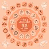 Fruit & Groentenpictogrammen Stock Afbeeldingen