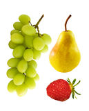 Fruit Group. Grapes, pear, strawberry isolated on white Stock Photo