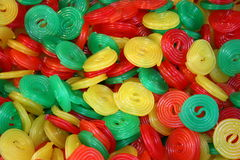 Fruit gummy wheels Stock Images