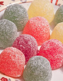 Fruit gums. Delicious fruit gums served on a plate royalty free stock photography