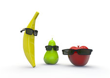 Fruit guys. 3D render of characters formed by fruit and glasses Stock Photos