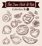 Fruit. Hand-drawn Doodle vector set Royalty Free Stock Photos