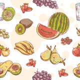 Fruit hand drawn seamless pattern Stock Image