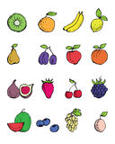 Fruit hand- drawn symbols Stock Photos