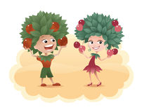 The Fruit Harvest. Cartoon boy and girl with a leaves on their heads, smiling and holding fruits Royalty Free Stock Photos