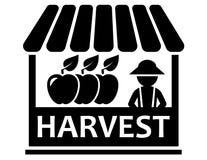 Fruit harvest on market icon. Autumn sale harvest symbol with fruit harvest on market icon Royalty Free Stock Photography