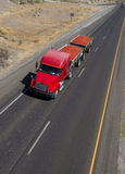 Red Semi Truck Fruit Hauler Highway Food Transport Stock Photography