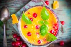 Fruit Health orange currant mousse Stock Photo