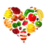 Fruit heart. An heart maked with various fruits isolated on white Stock Images
