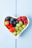 Fruit Heart From Above Stock Images