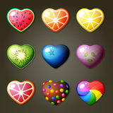 Fruit Hearts For Match Three Game Stock Photos