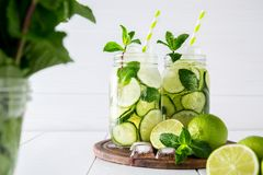 Detox water with cucumber, lime and mint. Fruit and herb infused water with cucumber, lime and mint on white background. The concept of detox and weight loss royalty free stock photo