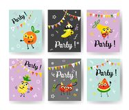 Fruit holiday party banners set with different ripe fruits and berries dancing, drinking cocktails and having fun. Fruit holiday party banners set with Stock Image