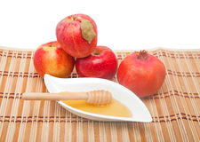 Fruit and honey at Jewish New year Stock Photo