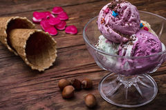 Fruit ice cream in  bowl Royalty Free Stock Photography
