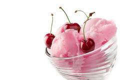 Fruit ice cream with cherry. Isolated on a white background Stock Images