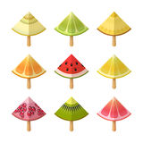 Fruit ice cream icon set. Slices of lemon, kiwi, orange, pomegranate, grapefruit, lime, watermelon, melon, on sticks Stock Image