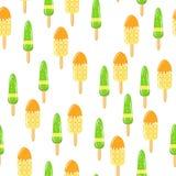 Fruit ice cream seamless texture. Frozen juice background. Baby, Kids wallpaper and textiles. Vector illustration Stock Photos