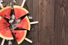 Fruit ice cream sliced watermelon on wooden background Stock Photos