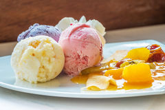 Fruit ice-cream and soft crepe Royalty Free Stock Photos