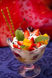Fruit and ice cream sundae Stock Photos