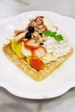 Fruit and ice cream waffle Stock Image