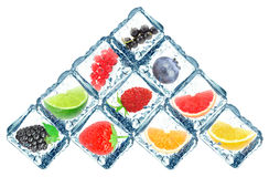 Fruit in the ice cube Stock Photo