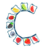 Fruit in the ice cube Royalty Free Stock Photography