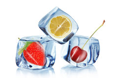 Fruit in Ice cubes Stock Photo