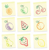 Fruit icon. Vector set of fruit icon on note paper Stock Image