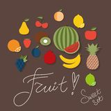 Fruit icon. The image of fruits and berries symbol Stock Photos