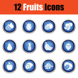 Fruit icon set. Glossy button design. Vector illustration Royalty Free Stock Photography