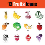 Fruit icon set. Gradient color design. Vector illustration Stock Photography