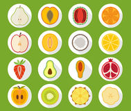 Fruit icon set with long shadow Stock Photo