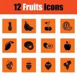 Fruit icon set Stock Images