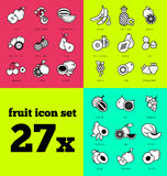 Fruit icon set. Raw food. Fresh icon set of fruits. Summer design Stock Image