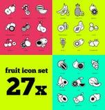 Fruit icon set. Raw food. Stock Image