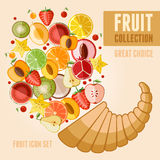 Fruit icon set. Vector fruit icon set in flat style. Template elements for web and mobile applications Royalty Free Stock Image