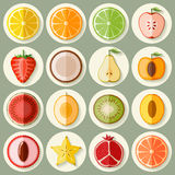 Fruit icon set. Vector fruit icon set in flat style. Template elements for web and mobile applications Royalty Free Stock Images