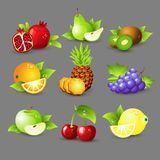 Fruit icon set. Vector Illustration Royalty Free Stock Images