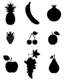 Fruit, icon. Silhouettes of fruit, icon set for web and mobile Royalty Free Stock Image