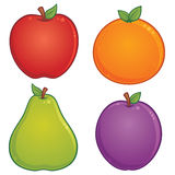 Fruit Icons. Vector cartoon illustration of various fruit. Apple, orange, pear and plum drawings included royalty free illustration
