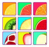 Fruit icons. Set of icons with fruit slices Stock Images