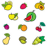 Fruit icons. Set of icons with fruits stock illustration