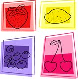 Fruit icons. Selection of tasty fruit designs Stock Photo