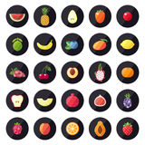 Fruit icons big vector set. Modern flat design. Royalty Free Stock Photos