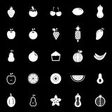 Fruit icons on black background Stock Image