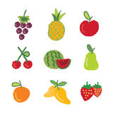 Fruit icons collection Stock Photos