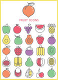Fruit icons color set  Stock Photo