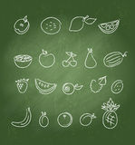 Fruit icons doodle set Royalty Free Stock Images